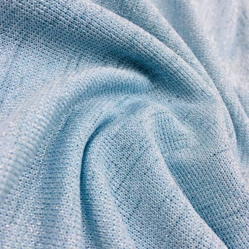 Silbrig Trikotstoffe Baby blau